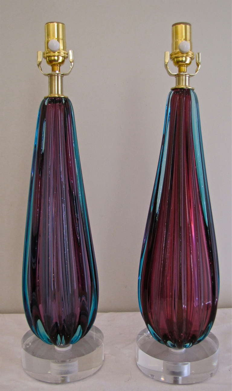Pair purple murano italian glass ribbed table lamps at 1stdibs pair of fabulous murano pair of lamps sommerso technique with deep purple encased in aqua aloadofball Images