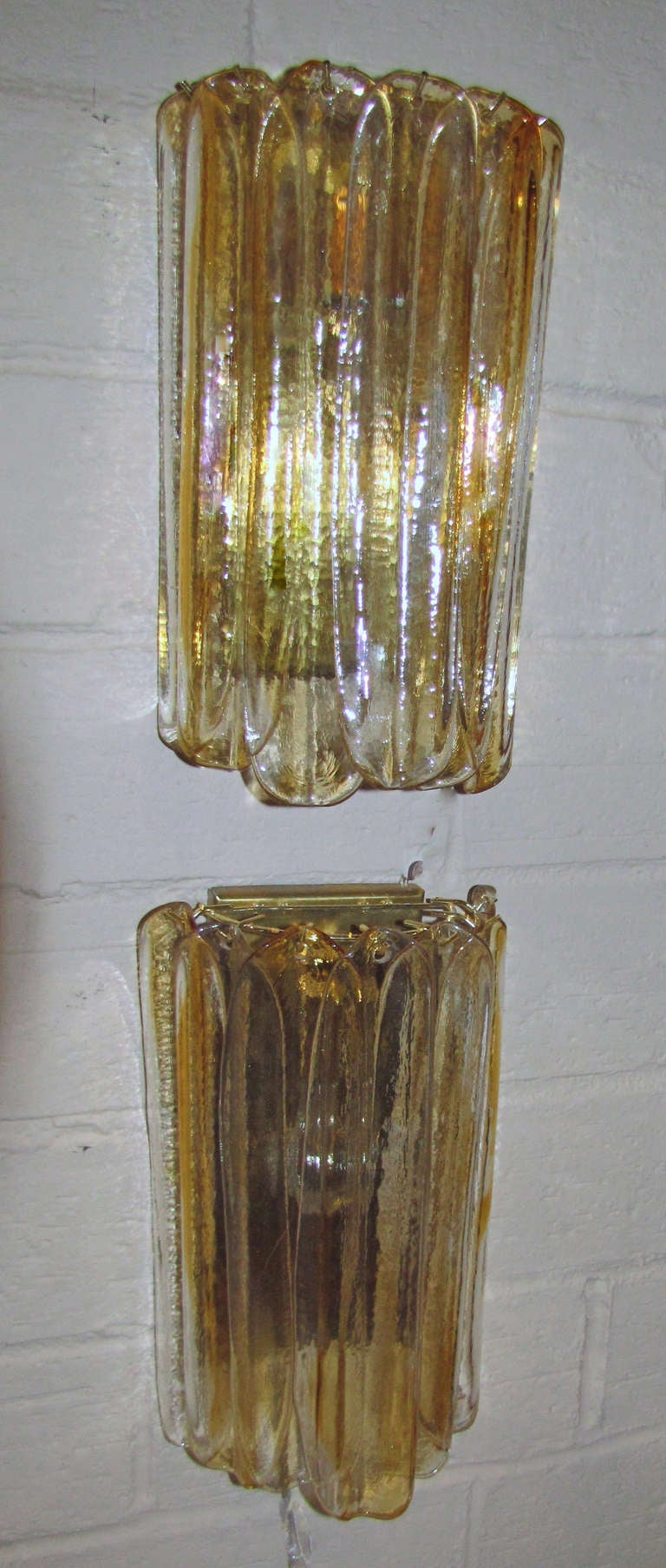 Pair Murano Italian Amber Clear Glass Sconces at 1stdibs