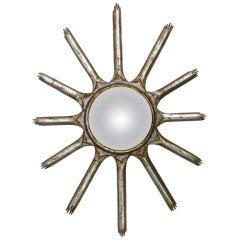 Italian Mid Century Convex Soleil Sunburst Gilt Wood Wall Mirror