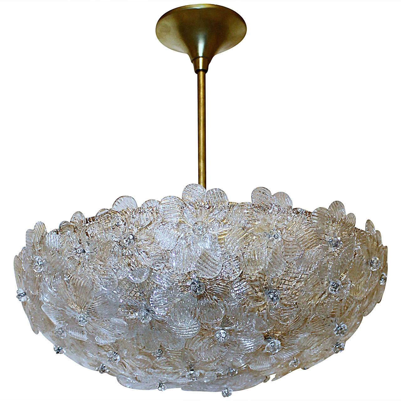 Barovier Murano Glass Floral Ceiling Pendant Light