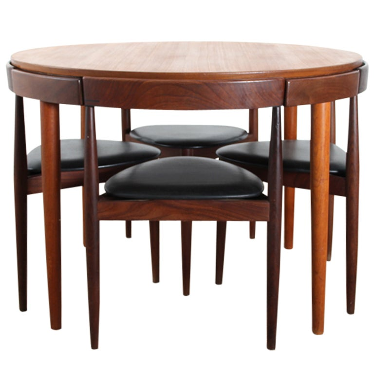 Danish modern walnut dining chairs - Danish Teak Dining Set For Four By Hans Olsen At 1stdibs