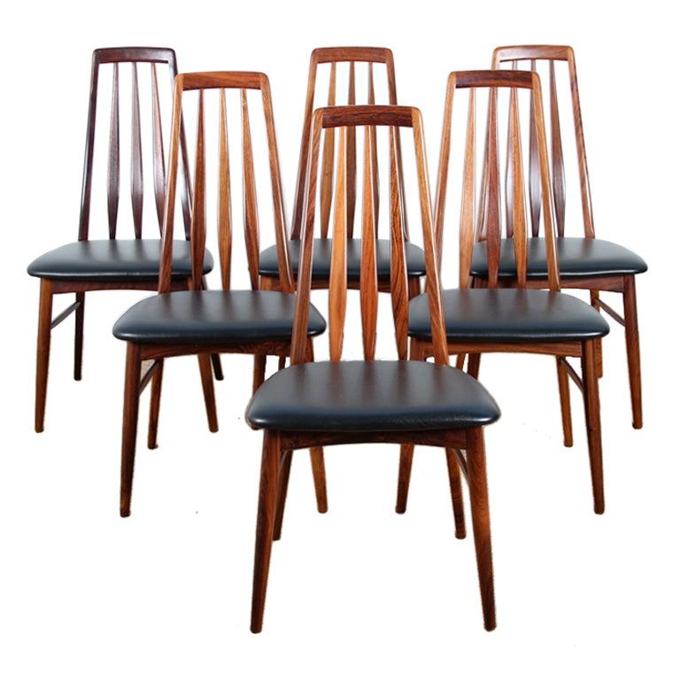 Set Of Six Scandinavian Rosewood Chairs By Niels Koefod