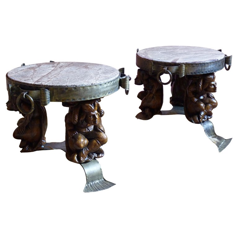 Pair Of Belgian 1960s Gothic Revival Coffee Tables At 1stdibs
