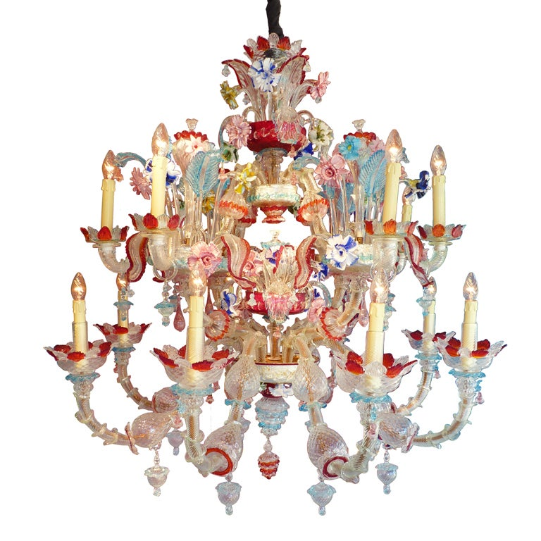 Murano Chandelier Color: 1940's Murano Multi Colored Chandelier At 1stdibs