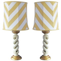 Pair of Italian 1980's white and gold lamp