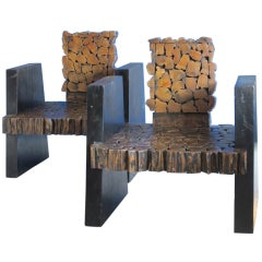 Pair of 1970's Belgian wooden patchwork armchairs