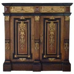 Couple French Napoléon III faux bois and giltwood cabinets
