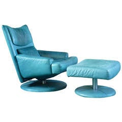 1980's Turquoise Rolf Benz Reclining Chair