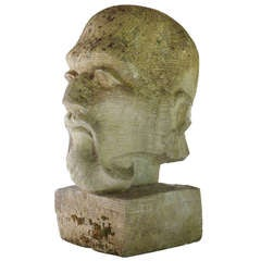 Stone 1940s Head Of French Polynesian Architect
