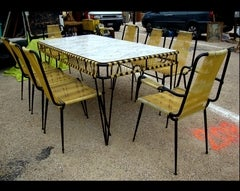 """1950's """"Scoubidou"""" table and eight chairs"""