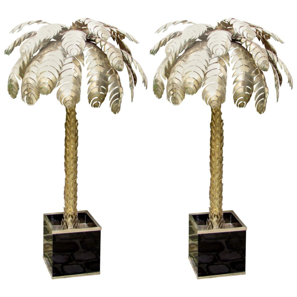 Pair of large 197039s palm tree floor lamps at 1stdibs for Large tree floor lamp