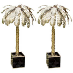 Pair of large 1970's palm tree floor lamps