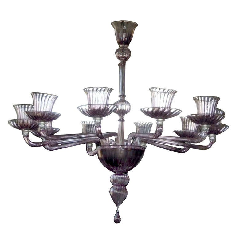 1970's Ten Arms Chandeliers By Venini