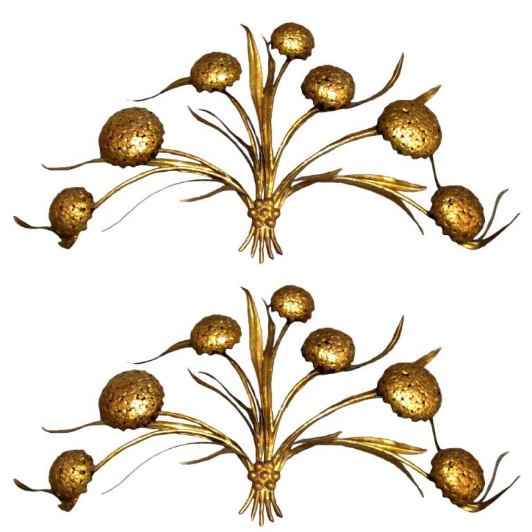 """Bouquet of Hydrangeas"" pair of wall lights"