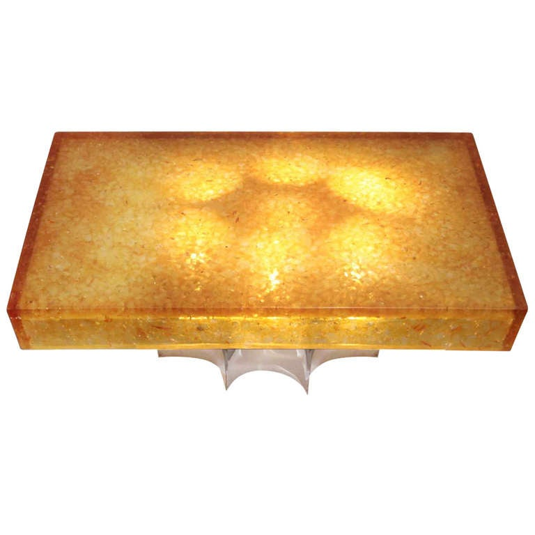 1960 39 S Resin And Stainless Steel Coffee Table For Sale At 1stdibs