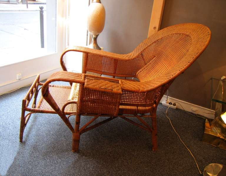 beautiful 1930 39 s rattan chaise longue at 1stdibs. Black Bedroom Furniture Sets. Home Design Ideas