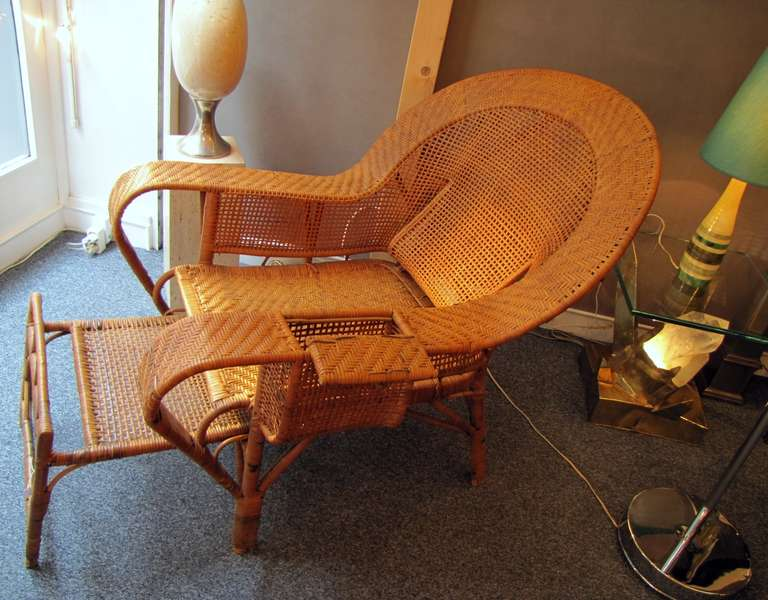 Beautiful 1930 39 s rattan chaise longue at 1stdibs for 1930s chaise lounge