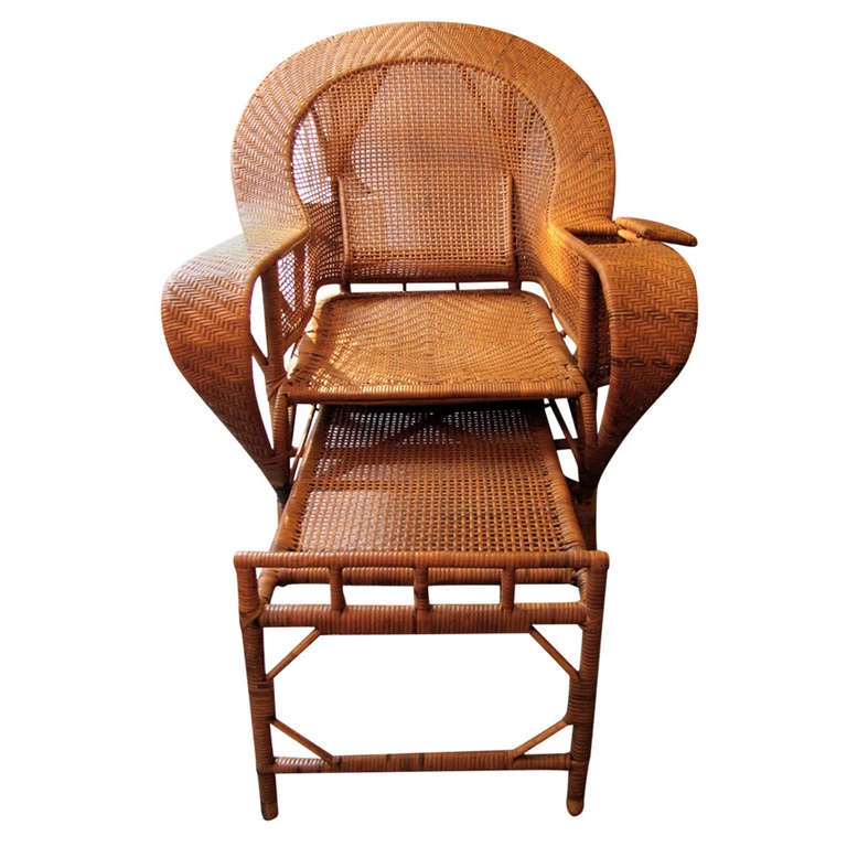 Beautiful 1930 39 s rattan chaise longue at 1stdibs for Chaise longue rattan sintetico