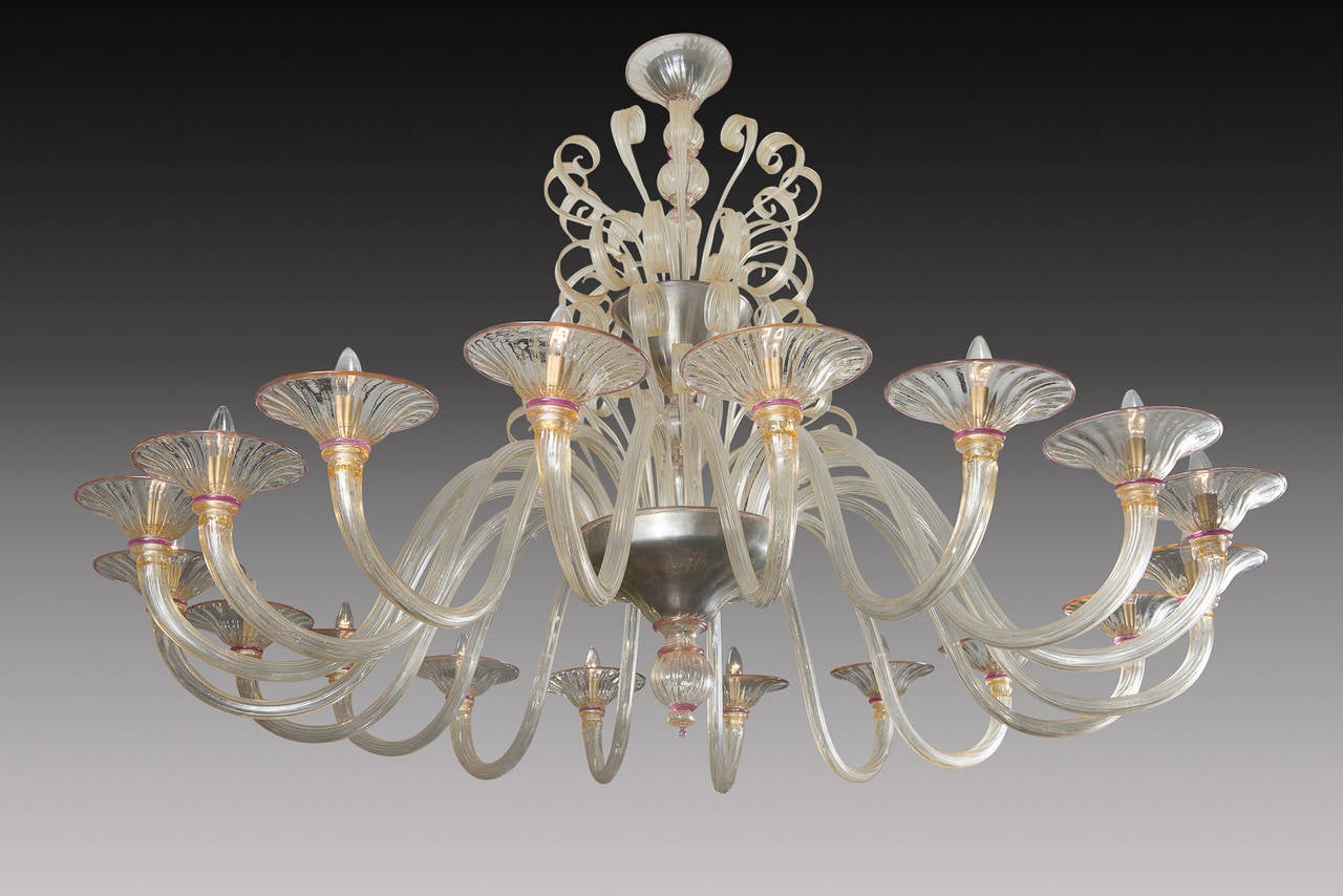 Rare Large 1970 39 S Murano Blown Glass Chandelier For Sale