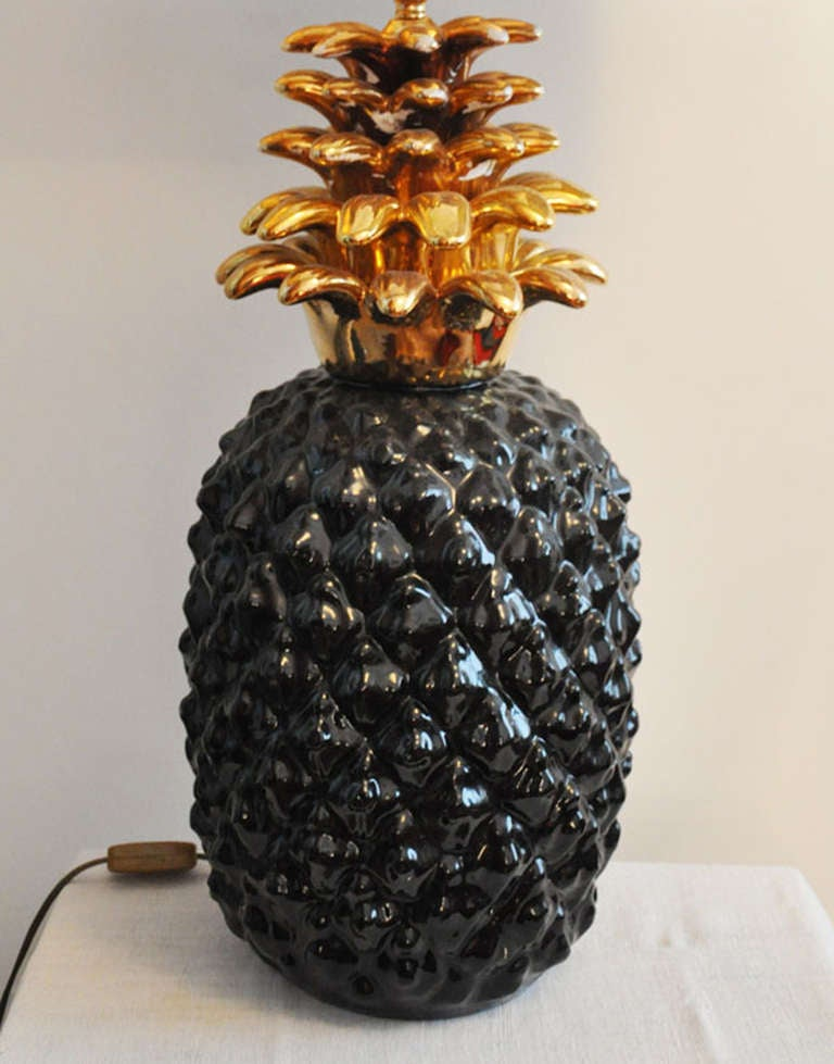 1970's Pineapple Lamp Base In Ceramic In Good Condition For Sale In Paris, FR