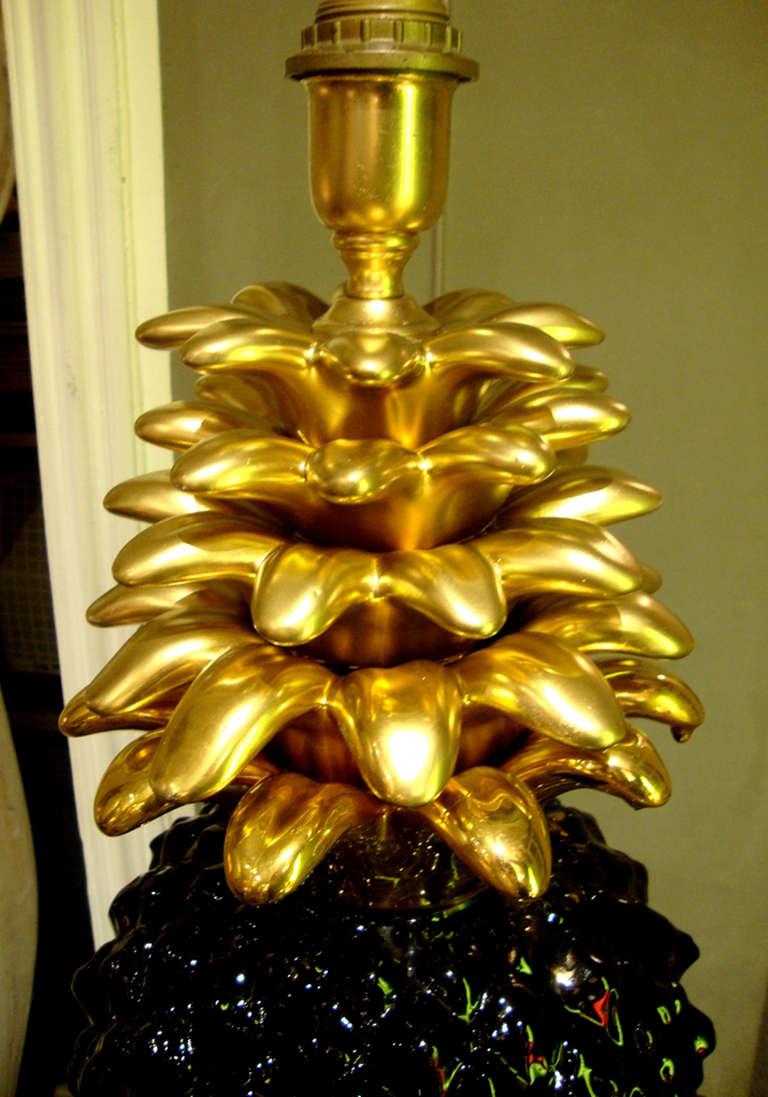 Italian 1970's Pineapple Lamp Base In Ceramic For Sale