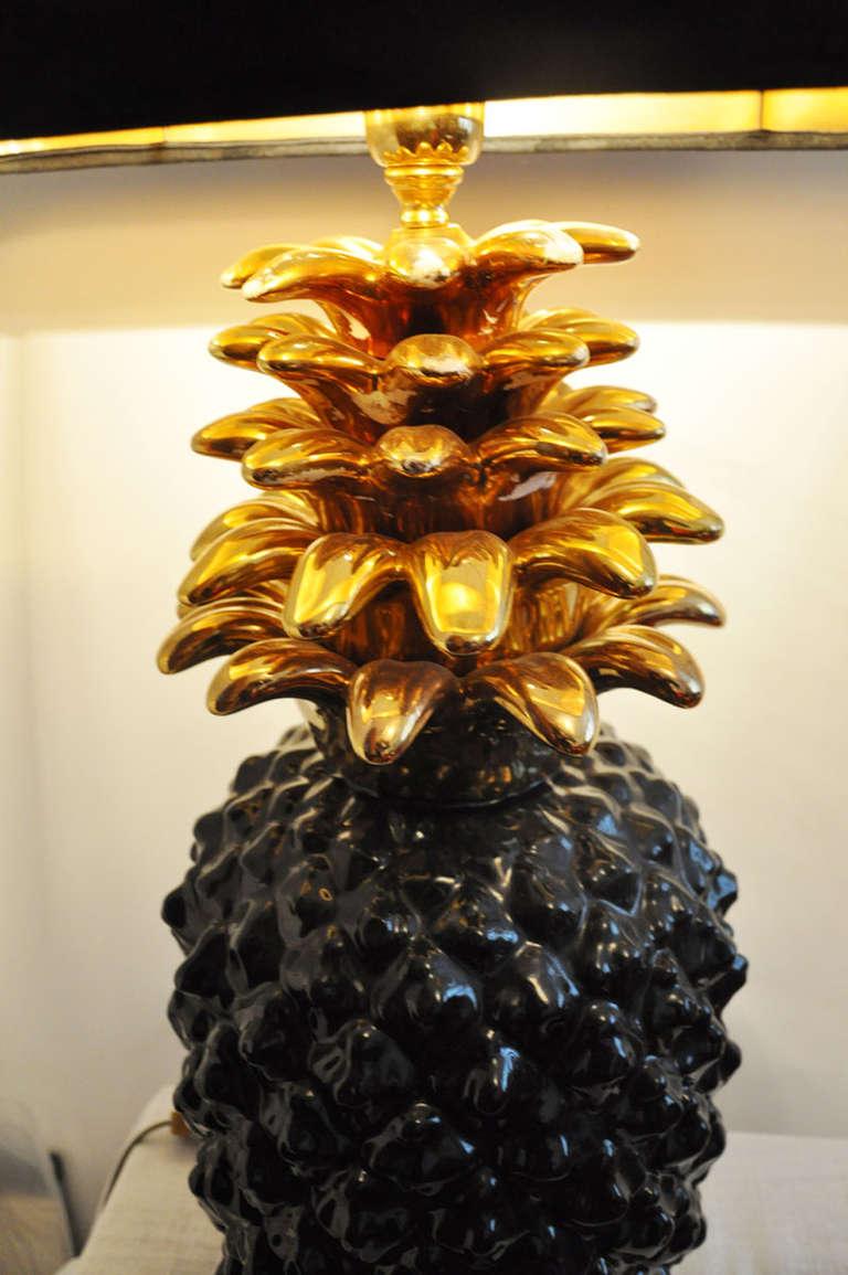 1970's Pineapple Lamp Base In Ceramic For Sale 1