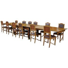 Rare Set of a Table with Four Extensions and 12 Chairs, Art and Craft Period