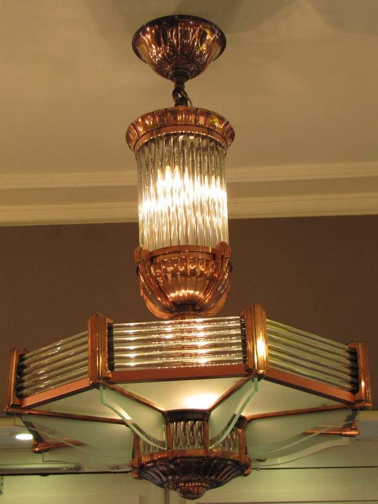 Original art deco chandelier by petitot at 1stdibs for Lustre original