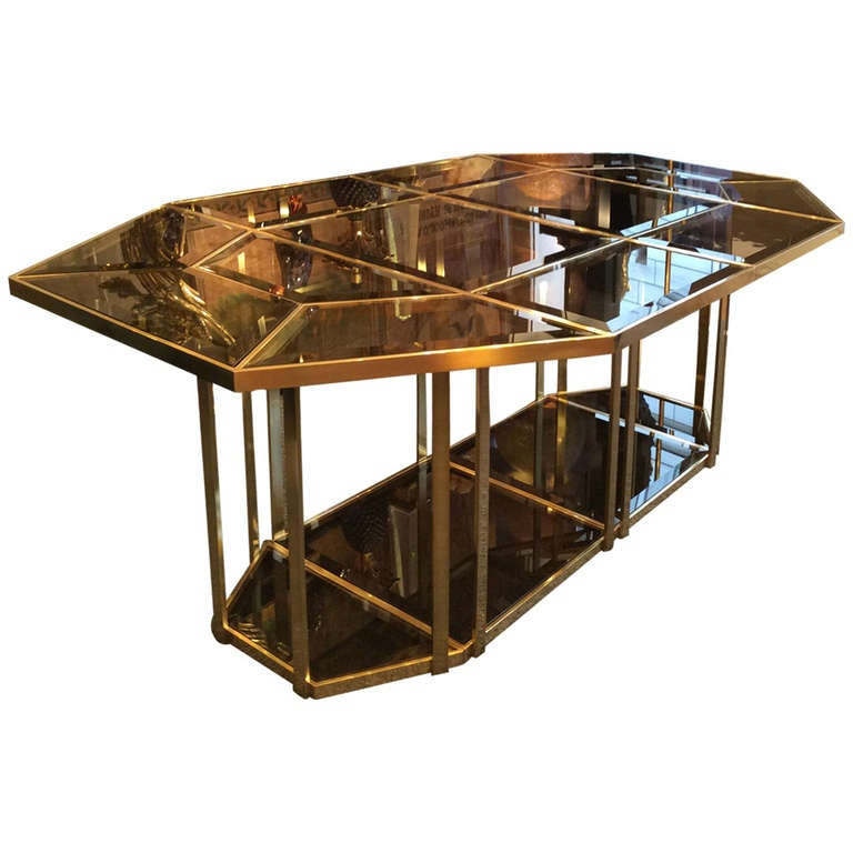 Beautiful 1970 39 s dining table in brass and beveled smoked for Beautiful glass dining room tables