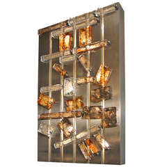 Large 1970's Lighting Panel with Mazzega Glass Pieces