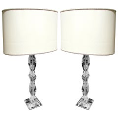 Elegant pair of crystal lamps with contemporary lampshades