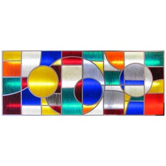 Large 1970s Lighting Panel In Iron And Worked Colored Resin
