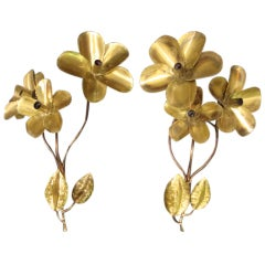 "1970s ""Flowers"" Pair of Wall Lights"