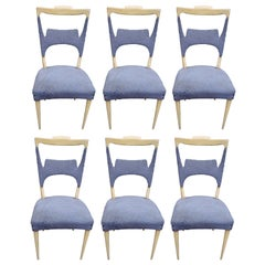 A Rare Set of 6 Sycamore Dining Chairs by Melchiorre Bega