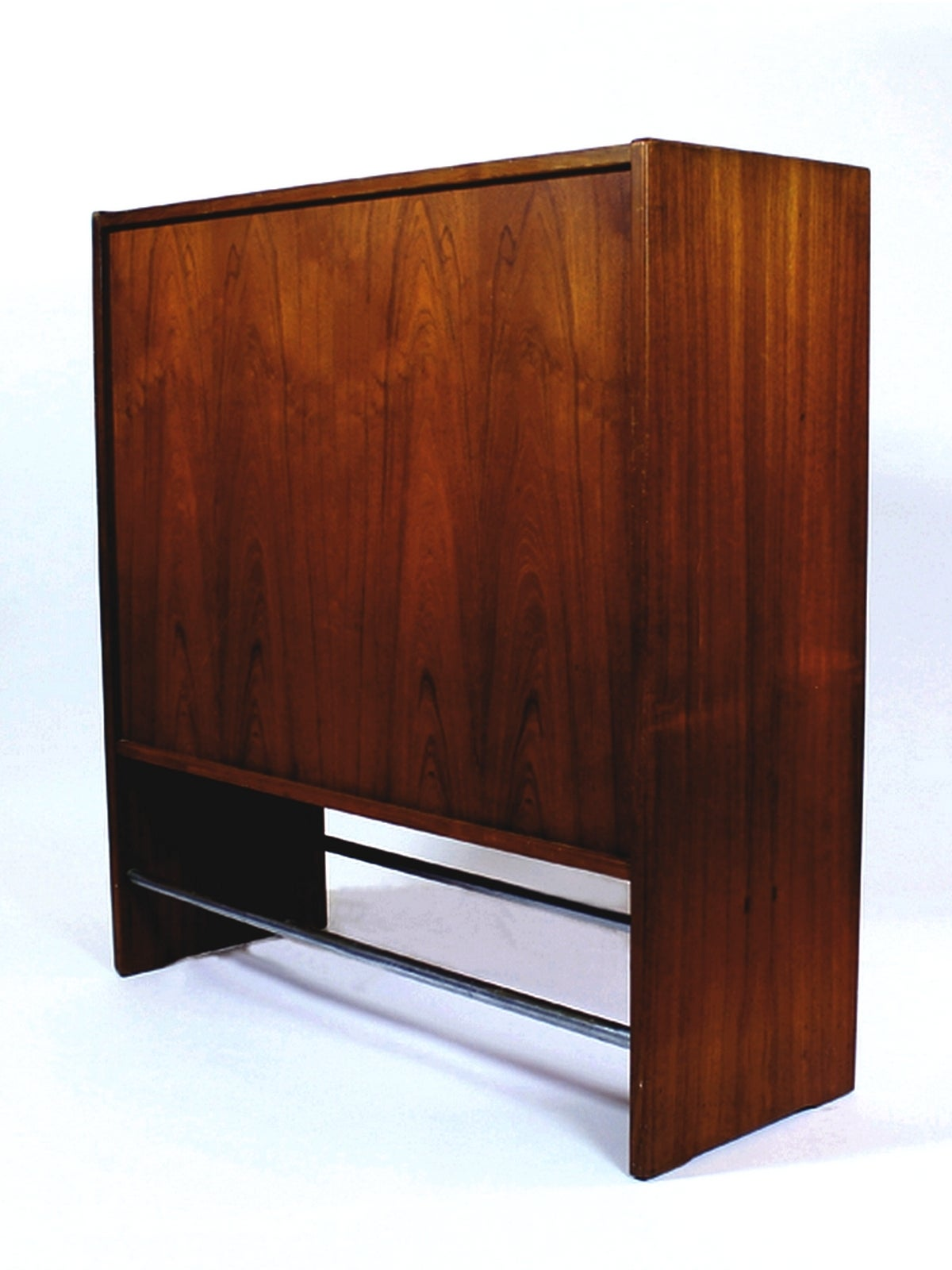 Original Danish rosewood dry bar designed by Erik Buch (1923-1982).  The outside of the bar is made from rosewood with a very nice grain, and the inside is partly in rosewood and the rest in nice contrasting grey-blue coated panel with round housing
