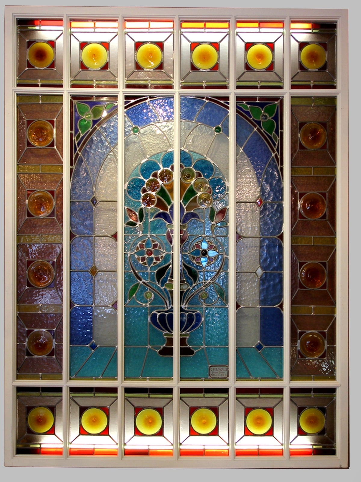 Wood two stained glass panels by carlo pizzagalli circa 1900 for sale