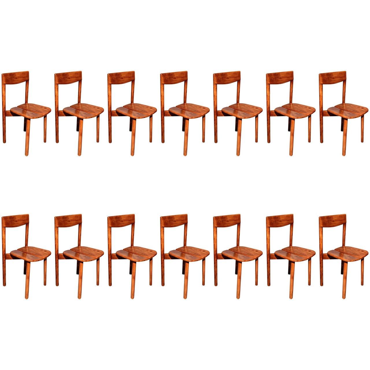 Pierre Gautier Delaye, set of fourteen chairs, France circa 1960