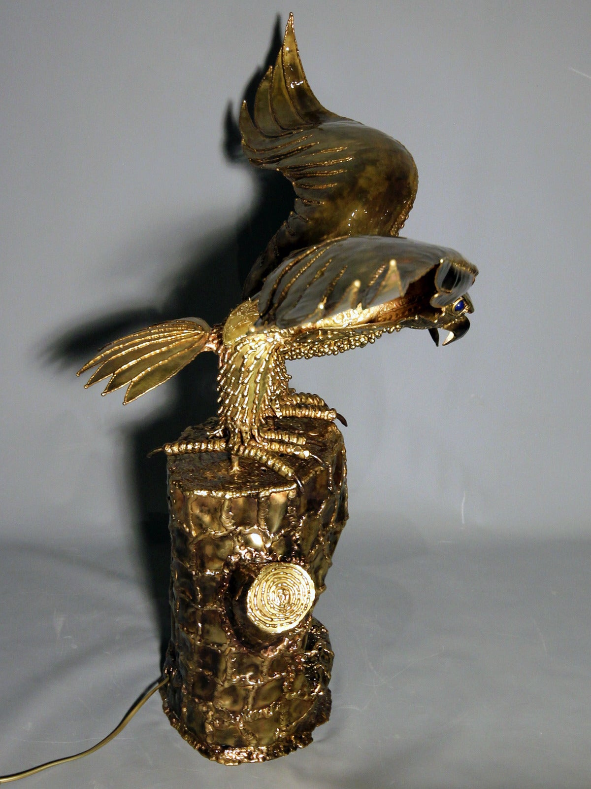 """""""Eagle Guarding its Nest"""", 1980s Lighting Sculpture by Richard Faure 5"""