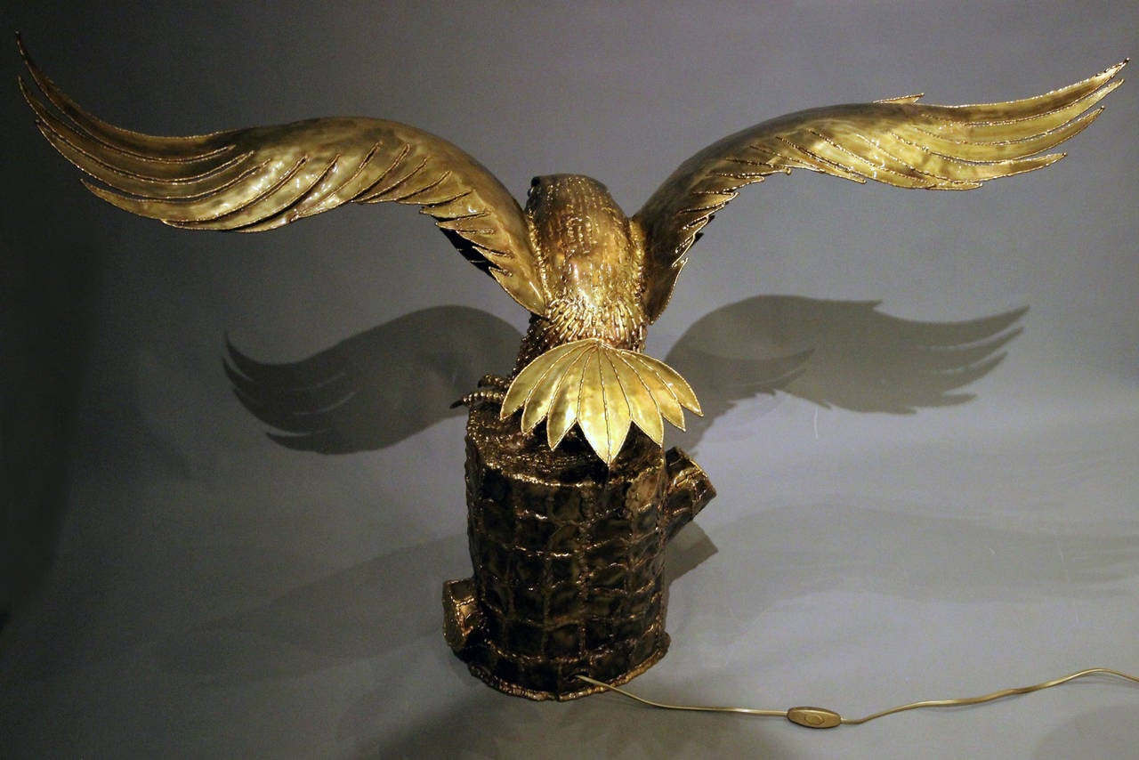 """""""Eagle Guarding its Nest"""", 1980s Lighting Sculpture by Richard Faure 8"""