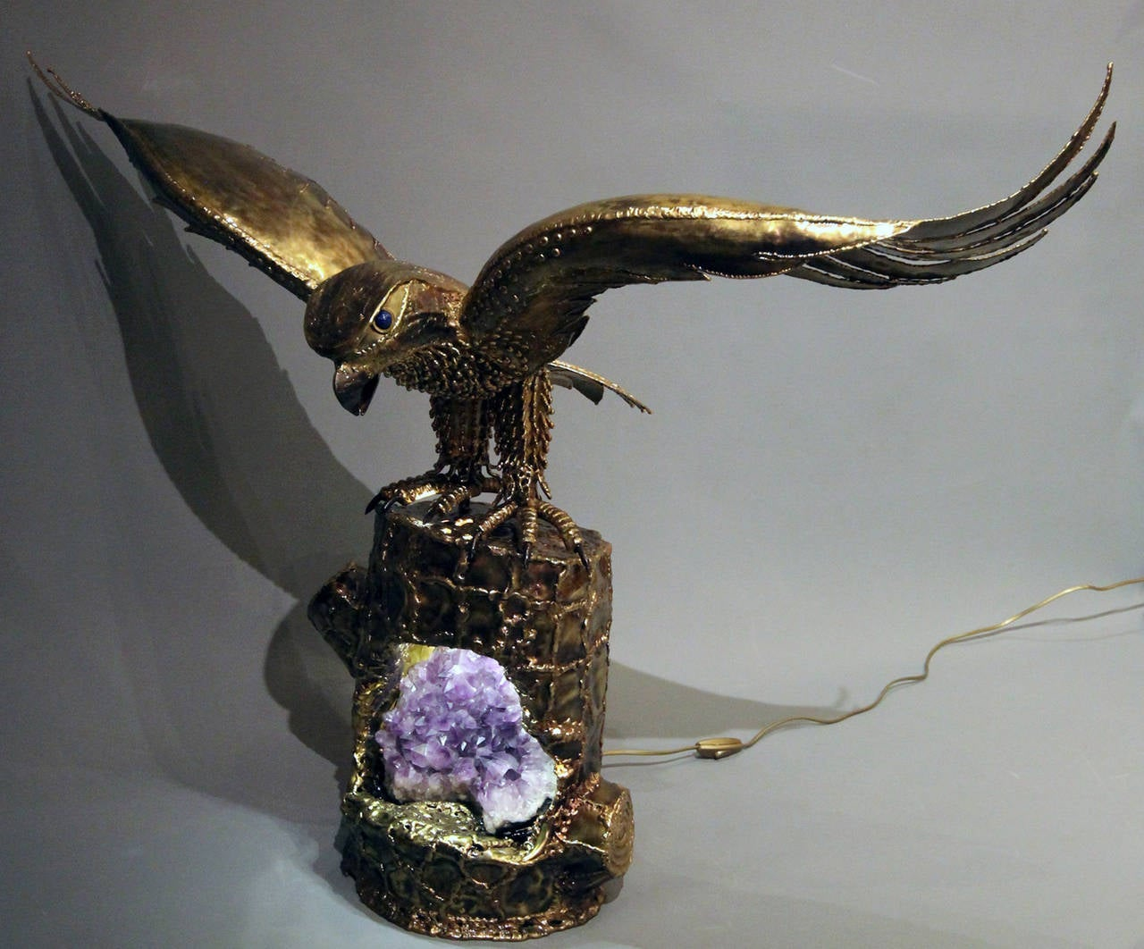 """""""Eagle Guarding its Nest"""", 1980s Lighting Sculpture by Richard Faure 4"""