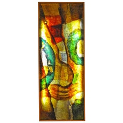 Illuminated 1970s Resin Panel with Oak Frame