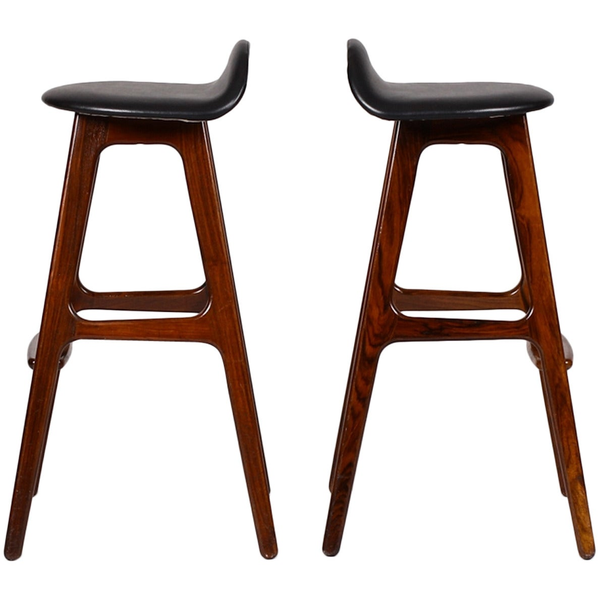 Two 1960s original bar stools by erik buch at 1stdibs - Erik buch bar stool ...