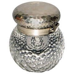 Rare Inkwell in Carved Crystal and Worked Silver by Lucien Gaillard