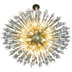 "1980s Murano ""Dandelion"" Chandelier in Brass and Glass"