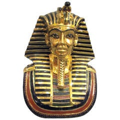 1970s Pharaoh Bust, Capodimonte Enameled Porcelain, Gilded in 24-Carat Gold