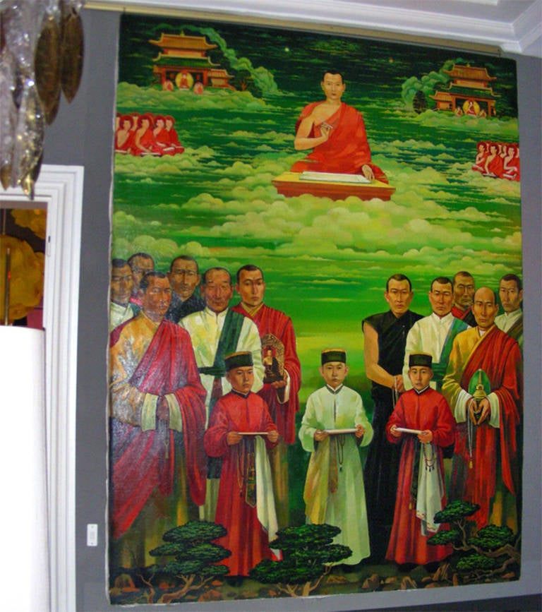 "Large oil on canvas painting titled ""The Revelation"" or ""The Vision,"" dated 1989 and signed by Victor Urgadumou, citizen of the Soviet Republic of Kalmykia, in Cyrillic. Represents Zaya Pandita, in the upper center and some representatives of the"