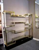 Important Italian 1970's polished brass shelves or bookcase, with glass levels image 5