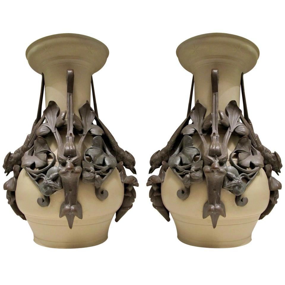 Rare Pair of 1900s Vases