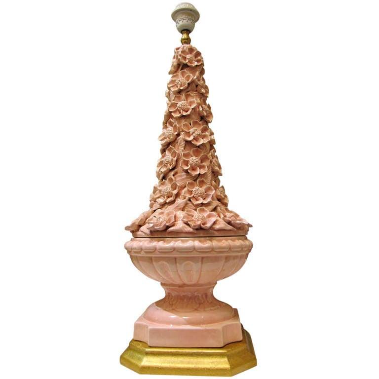 large 1960 39 s lamp in pink ceramic with a gilt wooden base at 1stdibs. Black Bedroom Furniture Sets. Home Design Ideas