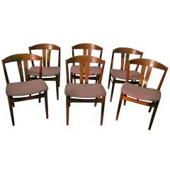 Set Of Six Danish Teak Chairs, 1950 Period.